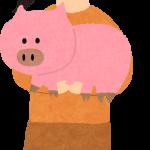豚を持っているお姉さん
