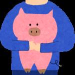 豚を持っているお兄さん
